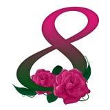 Αριθμός 8 ρόδινος floral διανυσματική απεικόνιση