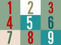 Αριθμός σε πολύχρωμο στο ζωηρόχρωμο υπόβαθρο ένα δύο τρία τέσσερα πέντε έξι επτά οκτώ εννέα διανυσματική απεικόνιση