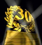 Αριθμός 30 στις χρυσές επιστολές Στοκ εικόνα με δικαίωμα ελεύθερης χρήσης