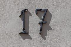 Αριθμός 17 στον τοίχο Στοκ εικόνα με δικαίωμα ελεύθερης χρήσης