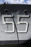 Αριθμός 55 στο θωρηκτό Στοκ φωτογραφία με δικαίωμα ελεύθερης χρήσης