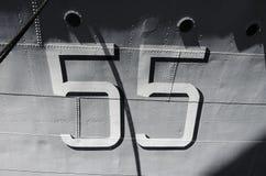 Αριθμός 55 στο θωρηκτό Στοκ Φωτογραφία