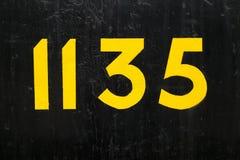 Αριθμός 1135 στο Μαύρο Στοκ Φωτογραφία