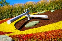 Αριθμός 5 στο ρολόι λουλουδιών στη Γενεύη, Ελβετία Στοκ Φωτογραφία