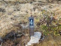 Αριθμός 4 στο σημάδι στο έδαφος με τις χλόες στοκ εικόνες