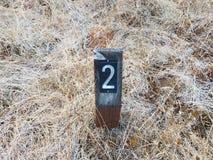 Αριθμός 2 στο σημάδι στο έδαφος με τις χλόες στοκ φωτογραφία