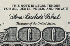 Αριθμός 100 στο τραπεζογραμμάτιο εκατό δολάρια Στοκ φωτογραφία με δικαίωμα ελεύθερης χρήσης