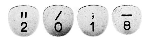 αριθμός του 2018 γραφομηχανής κουμπιών Στοκ εικόνα με δικαίωμα ελεύθερης χρήσης