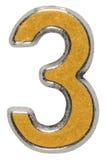 Αριθμός 3 τρία μετάλλων, απομονωμένος στο άσπρο υπόβαθρο Στοκ εικόνες με δικαίωμα ελεύθερης χρήσης
