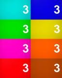 Αριθμός τρία 3 στο χρωματισμένο μέταλλο Στοκ εικόνες με δικαίωμα ελεύθερης χρήσης