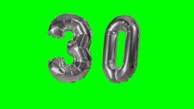 Αριθμός 30 τριάντα γενεθλίων ασημένιων έτη μπαλονιών επετείου που επιπλέουν στην πράσινη οθόνη - φιλμ μικρού μήκους