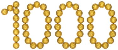Αριθμός 1000, χίλιοι, από τις διακοσμητικές σφαίρες, που απομονώνονται στο W Στοκ φωτογραφίες με δικαίωμα ελεύθερης χρήσης