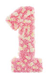 Αριθμός 1 floral, ένας από το ρόδινο πέταλο λουλουδιών τριαντάφυλλων Απομονωμένος ove Στοκ φωτογραφίες με δικαίωμα ελεύθερης χρήσης