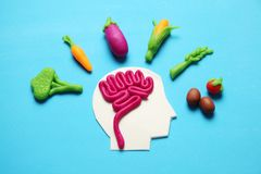 Αριθμός Plasticine του ατόμου και των χορτοφάγων τροφίμων Τρόφιμα για το μυαλό, δαπάνη της ενέργειας Υγιείς τρόπος ζωής, αποτοξίν στοκ φωτογραφίες με δικαίωμα ελεύθερης χρήσης