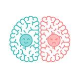 Αριστερός και δεξιός εγκέφαλος, ευτυχές και ευμετάβλητο fla κτυπήματος περιλήψεων έννοιας απεικόνιση αποθεμάτων