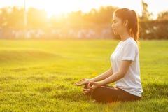 Αρκετά ασιατική γυναίκα που κάνει τις ασκήσεις γιόγκας στο πάρκο στοκ φωτογραφίες με δικαίωμα ελεύθερης χρήσης