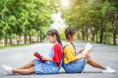 Αρκετά ασιατικοί κορίτσι ή σπουδαστές διδύμων που διαβάζει ένα βιβλίο στο κοινό στοκ εικόνες με δικαίωμα ελεύθερης χρήσης
