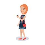 Αρκετά κοκκινομάλλες κορίτσι σε ένα μπλε φόρεμα που στέκεται με τη διανυσματική απεικόνιση χαρακτήρα κινουμένων σχεδίων φλιτζανιώ Στοκ Εικόνες
