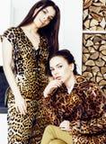 Αρκετά μοντέρνη γυναίκα στο φόρεμα μόδας με την τυπωμένη ύλη λεοπαρδάλεων μαζί στο πλούσιο εσωτερικό δωματίων πολυτέλειας, έννοια Στοκ φωτογραφία με δικαίωμα ελεύθερης χρήσης