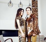 Αρκετά μοντέρνη γυναίκα στο φόρεμα μόδας με την τυπωμένη ύλη λεοπαρδάλεων μαζί στο πλούσιο εσωτερικό δωματίων πολυτέλειας, έννοια Στοκ Φωτογραφίες