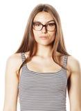Αρκετά νέα επιχειρησιακή γυναίκα στα γυαλιά στο λευκό που απομονώνεται Στοκ Εικόνες