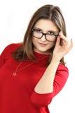 Αρκετά νέα πρότυπα φορώντας eyeglasses γυναικών Στοκ Φωτογραφία
