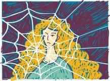 Αρκετά νέα δυστυχισμένη γυναίκα στην κατάθλιψη doodles απεικόνιση αποθεμάτων