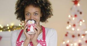 Αρκετά νέα χαλάρωση νοικοκυρών στα Χριστούγεννα απόθεμα βίντεο