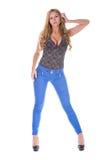 Αρκετά ξανθό πρότυπο στο τζιν παντελόνι Στοκ Εικόνες