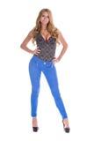 Αρκετά ξανθό πρότυπο στο τζιν παντελόνι Στοκ φωτογραφίες με δικαίωμα ελεύθερης χρήσης