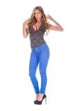 Αρκετά ξανθό πρότυπο στο τζιν παντελόνι Στοκ εικόνες με δικαίωμα ελεύθερης χρήσης