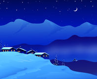 Αρκετά τοπίο χειμερινής νύχτας - ελεύθερη απεικόνιση δικαιώματος