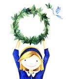 Αρκετά χαριτωμένο χαμογελώντας μικρό κορίτσι που κρατά ένα πλαίσιο στεφανιών κύκλων των κλάδων Στην άσπρη ανασκόπηση watercolor Στοκ Φωτογραφία
