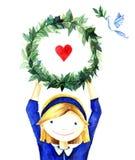 Αρκετά χαριτωμένο χαμογελώντας νέο κορίτσι που κρατά ένα πλαίσιο στεφανιών κύκλων των κλάδων με την καρδιά Συρμένη χέρι φιλανθρωπ Στοκ Εικόνες