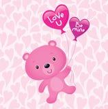 Αρκούδα του ρόδινου βαλεντίνου με τα μπαλόνια Στοκ Εικόνες