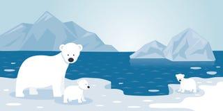 Αρκτική σκηνή, μητέρα και μωρό παγόβουνων πολικών αρκουδών Απεικόνιση αποθεμάτων