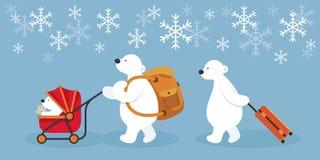 Αρκτικοί οικογενειακοί χαρακτήρες πολικών αρκουδών, ταξίδι απεικόνιση αποθεμάτων