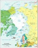 Αρκτικός χάρτης τμημάτων περιοχών πολιτικός Στοκ Εικόνα