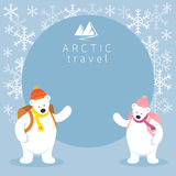 Αρκτικό πλαίσιο Backpacker πολικών αρκουδών ζεύγους Ελεύθερη απεικόνιση δικαιώματος