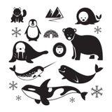 Αρκτικό σύνολο σκιαγραφιών ζώων ελεύθερη απεικόνιση δικαιώματος