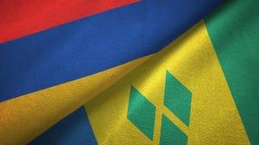 Αρμενία και Άγιος Βικέντιος και Γρεναδίνες δύο υφαντικό ύφασμα σημαιών διανυσματική απεικόνιση