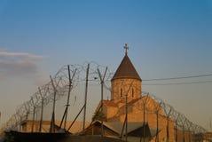 Αρμενική εκκλησία πίσω από οδοντωτό - καλώδιο, Βαγδάτη Ιράκ Στοκ Εικόνα