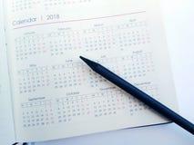 Αρμόδιος για το σχεδιασμό 2018 ημερολογίων και μήνα Στοκ φωτογραφία με δικαίωμα ελεύθερης χρήσης