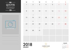 Αρμόδιος για το σχεδιασμό 2018 Ιανουαρίου στο άσπρο υπόβαθρο για την οργάνωση και το Bu Στοκ Φωτογραφία
