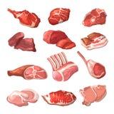 Αρνί, βόειο κρέας χοιρινού κρέατος, και άλλες εικόνες κρέατος στο ύφος κινούμενων σχεδίων απεικόνιση αποθεμάτων
