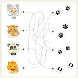 Αρνί, γατάκι, panda και αλεπού με τις διαδρομές τους Στοκ εικόνα με δικαίωμα ελεύθερης χρήσης