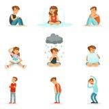 Αρνητικές συγκινήσεις παιδιών, έκφραση των διαφορετικών διαθέσεων Στοκ φωτογραφίες με δικαίωμα ελεύθερης χρήσης