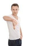 Αρνητικό άτομο με τους αντίχειρες κάτω Στοκ Εικόνα