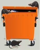 Αρουραίοι στην απόρριψη σκουπιδιών διανυσματική απεικόνιση