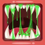 Αρπακτικά σαγόνια ενός φανταστικού φρικτού τρομακτικού τέρατος με slime, πράσινη βλέννα Η ζελατίνα κόλλας η ουσία είναι ελεύθερη απεικόνιση δικαιώματος